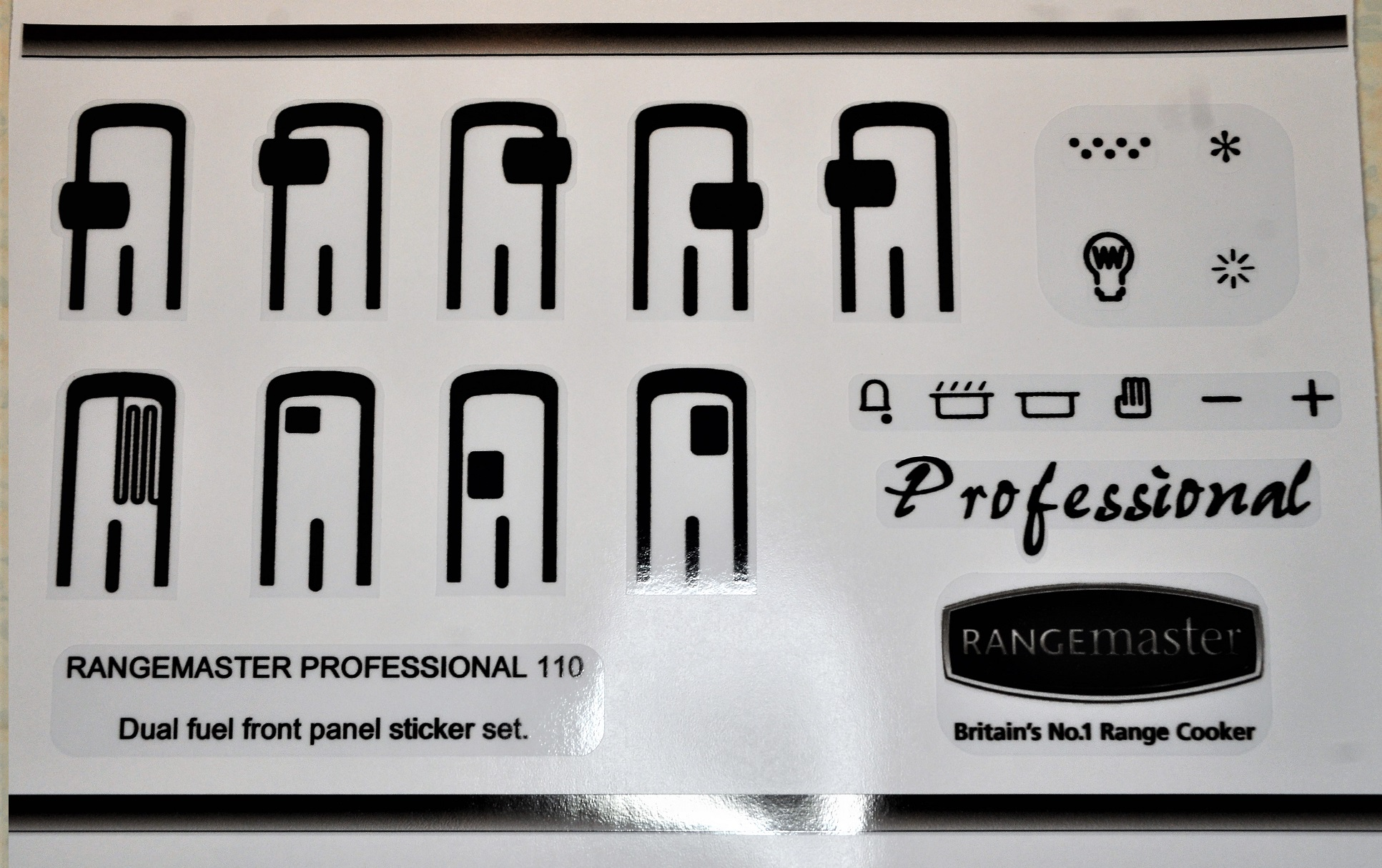 Rangemaster professional 110 dual fuel sticker set.