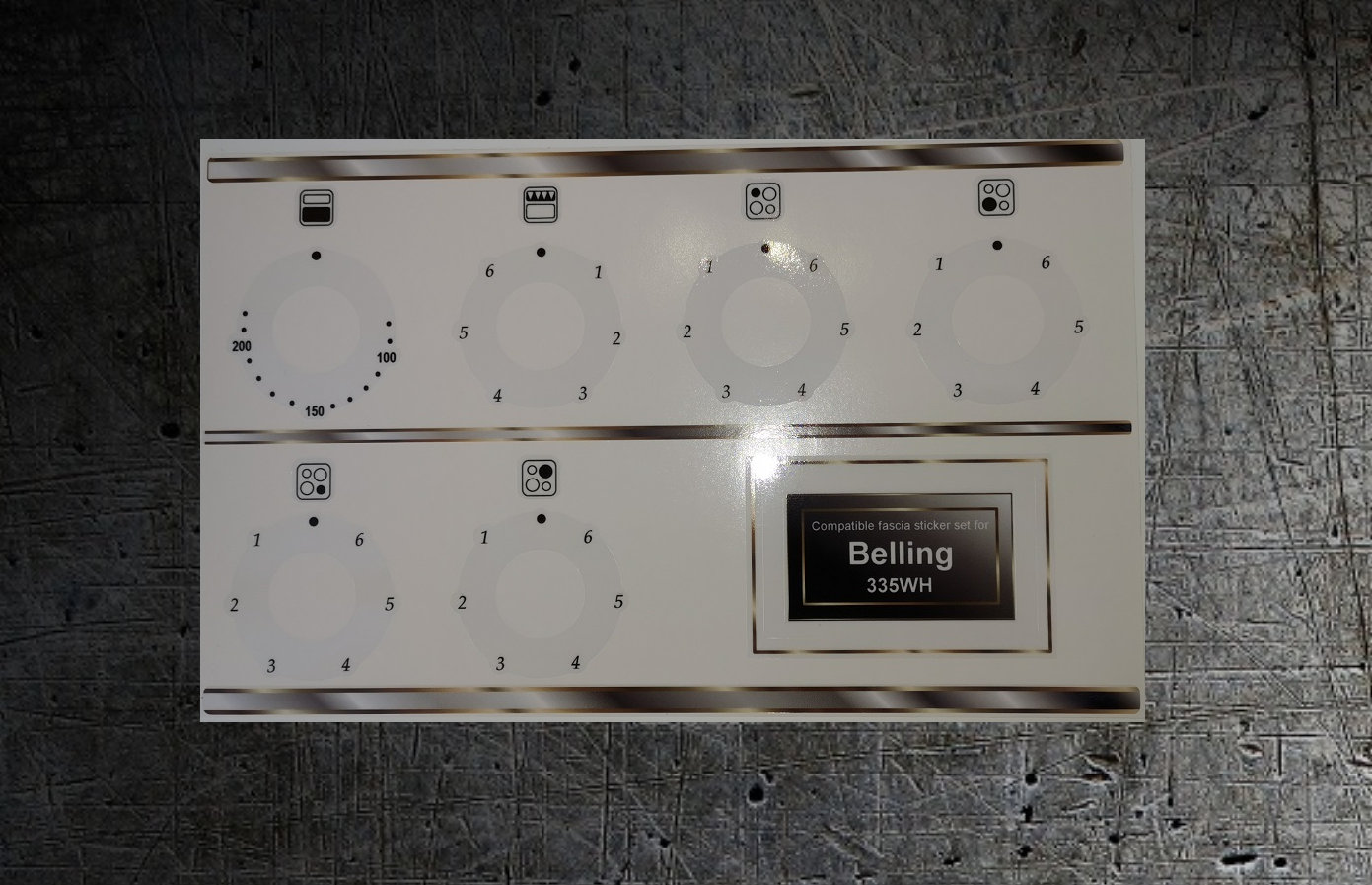 Belling 335WH electric oven compatible fascia sticker set.