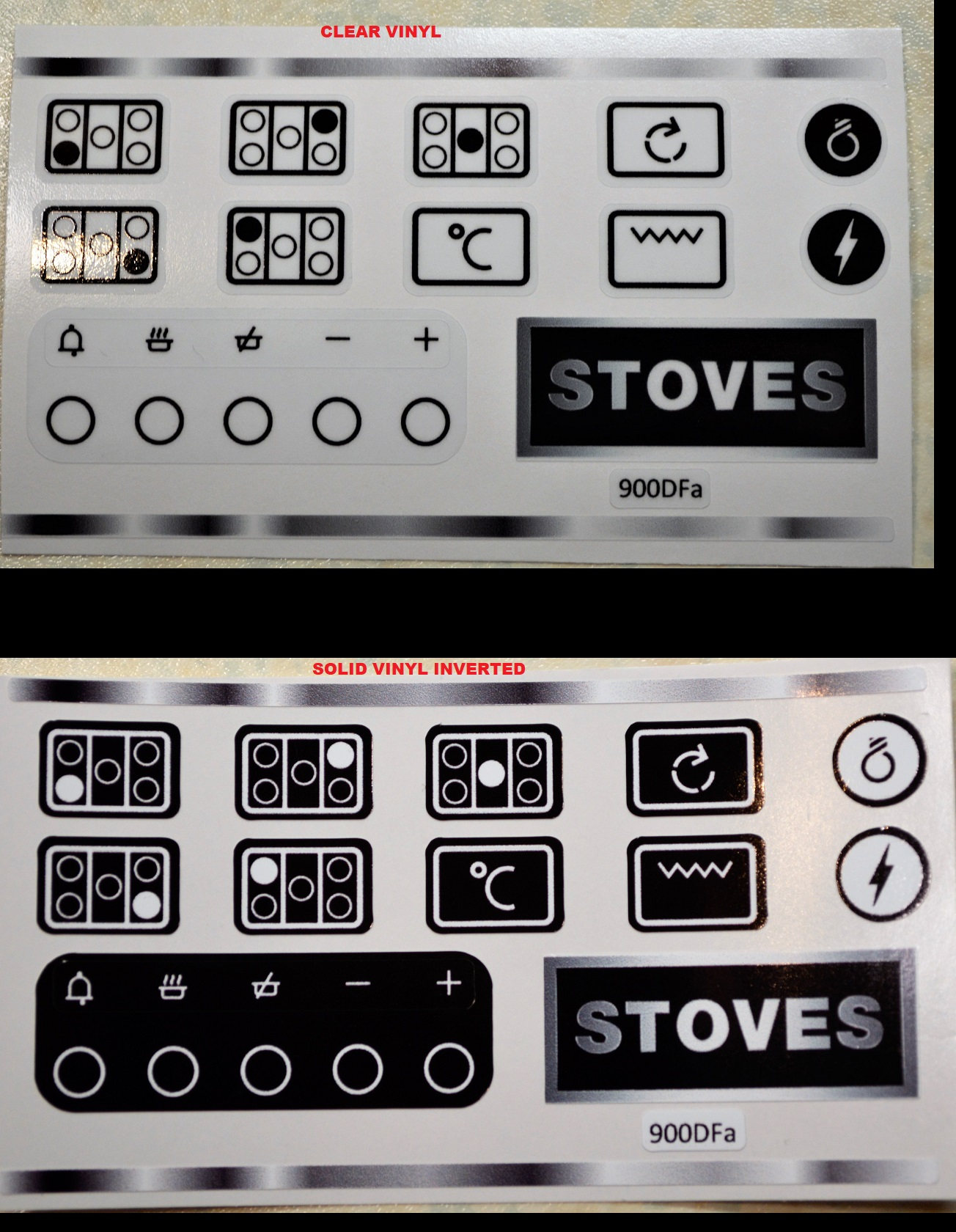 Stoves 900DFa Hob indicator and clock stickers in clear or solid