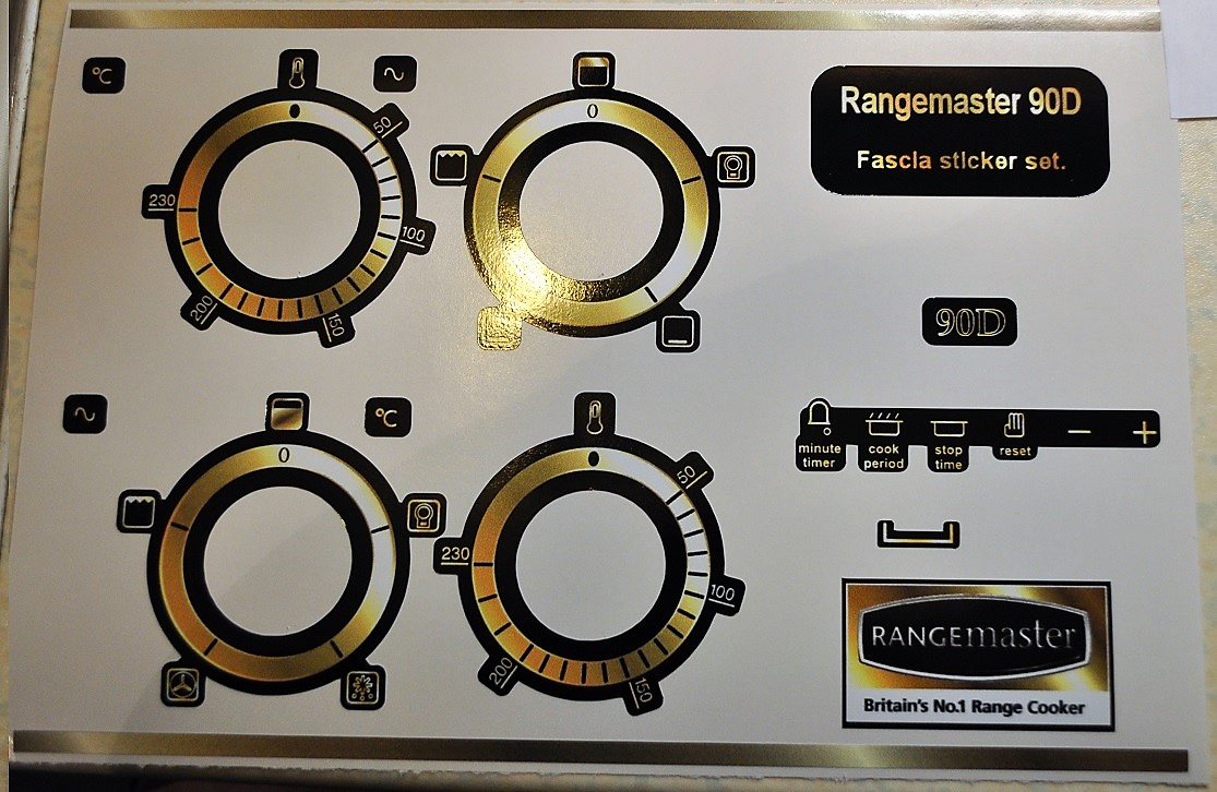 Rangemaster 90D front panel fascia sticker set in gold effect.
