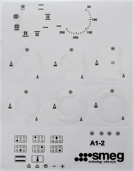 Smeg A1-2 range oven facia. decal stickers, may suit other model