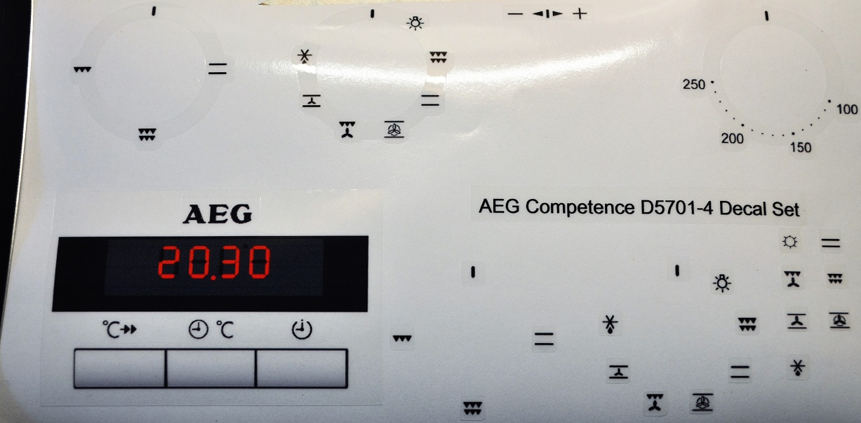 AEG COMPETANCE D5701-4 decal sticker set, may fit others.
