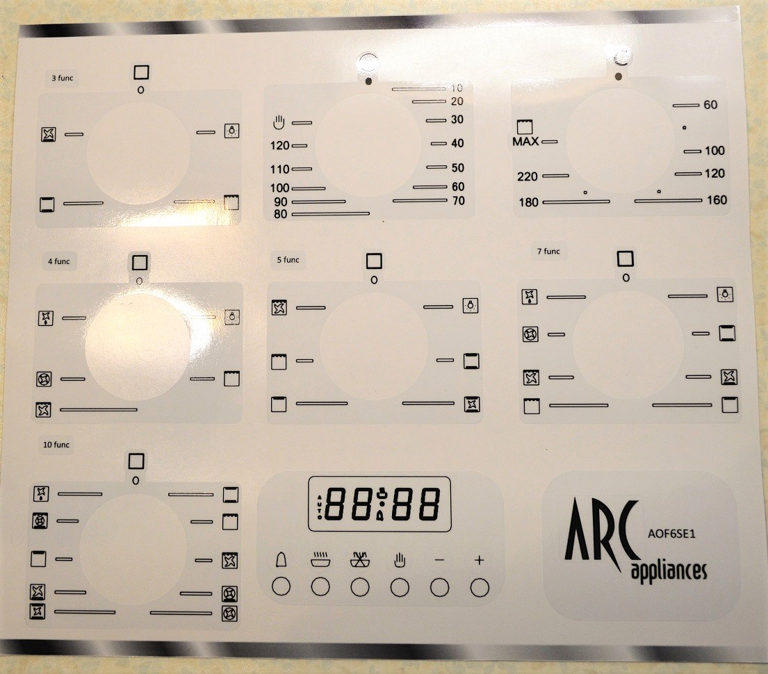 ARC AOF6SE1 Oven fascia sticker set for worn fronts.