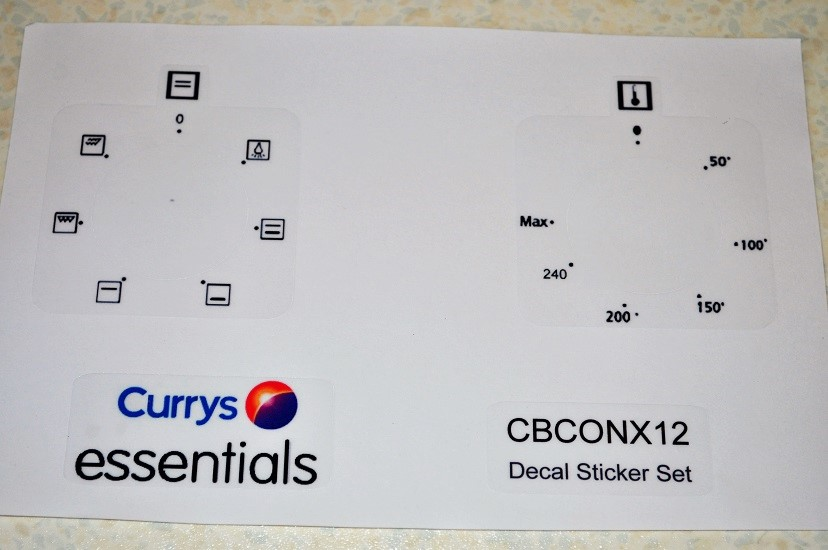 Currys Essentials CBCONX12 Oven decal sticker set.