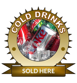 Large 19x18cm cold drinks sold here sticker.