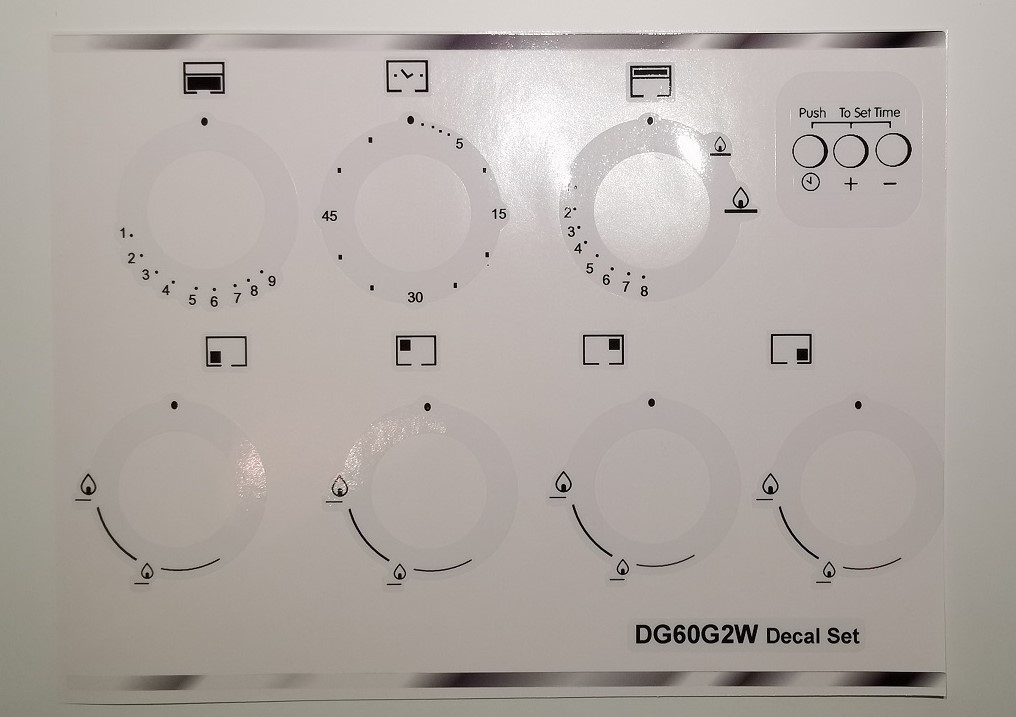 Indesit DG60G2W, facia, decal, stickers, may suit others.