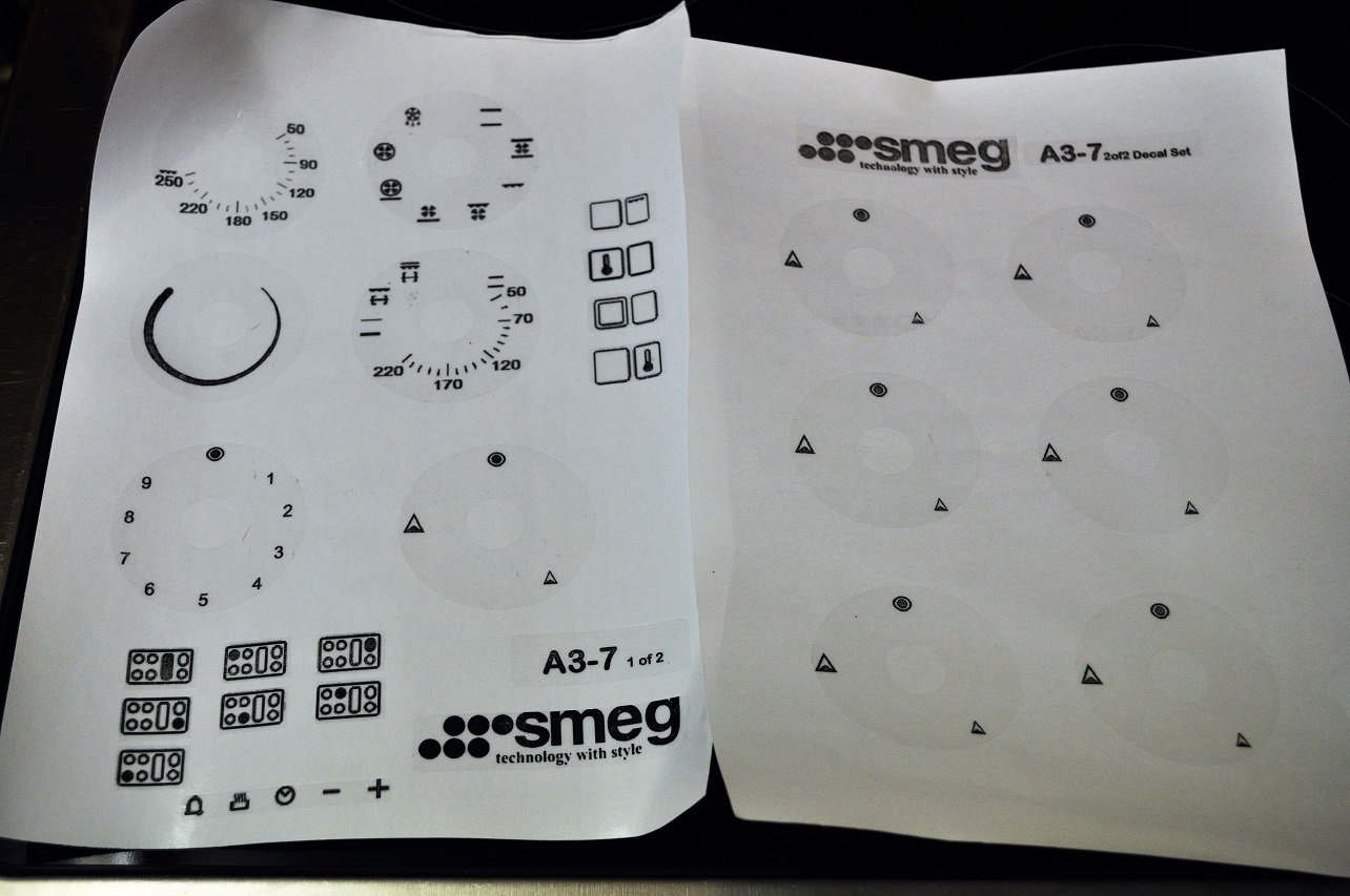 Smeg range oven facia stickers,decals clear vinyl A3-7 etc