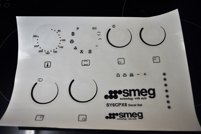 Smeg range oven facia. decals, SY6CPX8 may suit others.