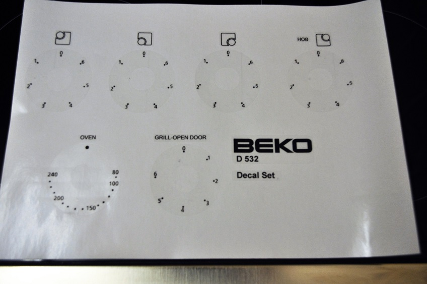 Beko D532 50cm electric cooker decal facia stickers
