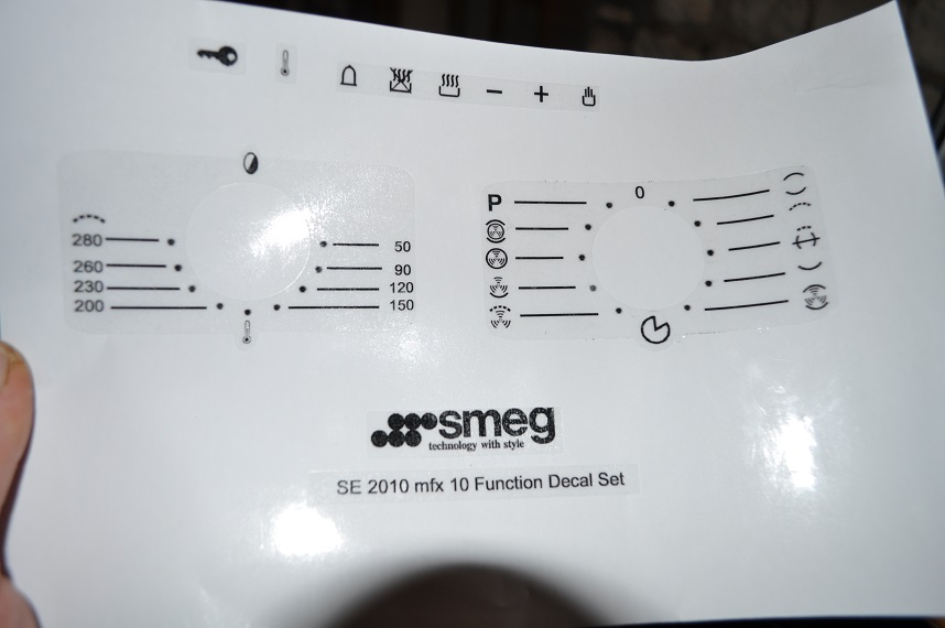 Smeg SE2010 mfx 10 function oven facia. decal stickers, may suit