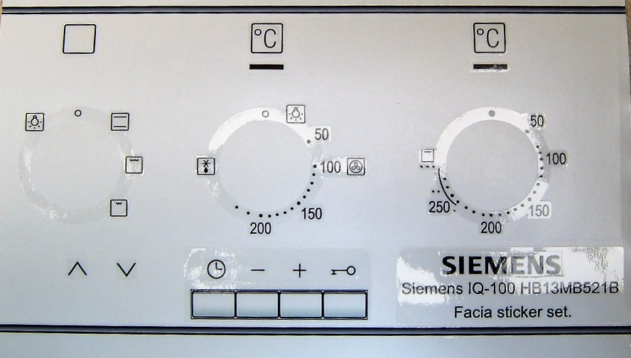 Siemens IQ-100 HB13MB521B facia sticker set for worn fronts.