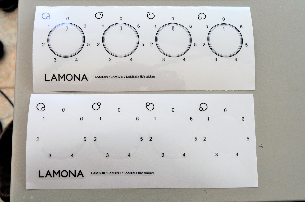 Lamona electric hob stickers for worn decals.