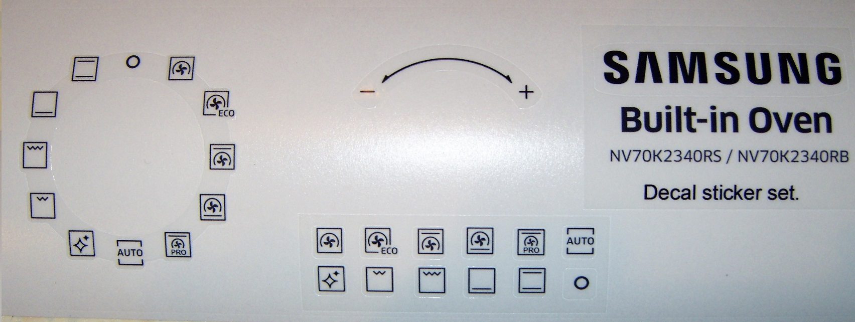 Samsung Oven NV70K2340RS decal sticker set, may fit others.