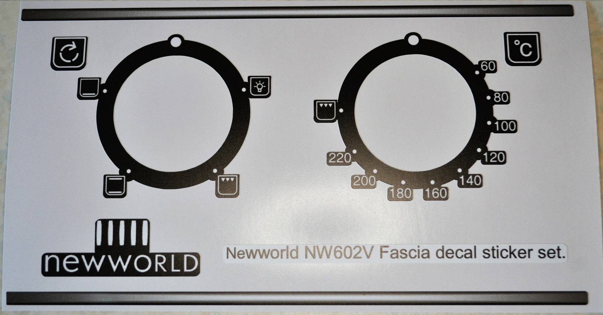 Newworld NW602V black fascia decal sticker set.