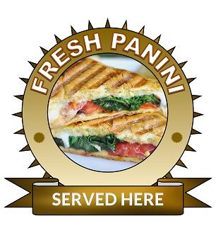 Large 25cm fresh panini served here sticker.