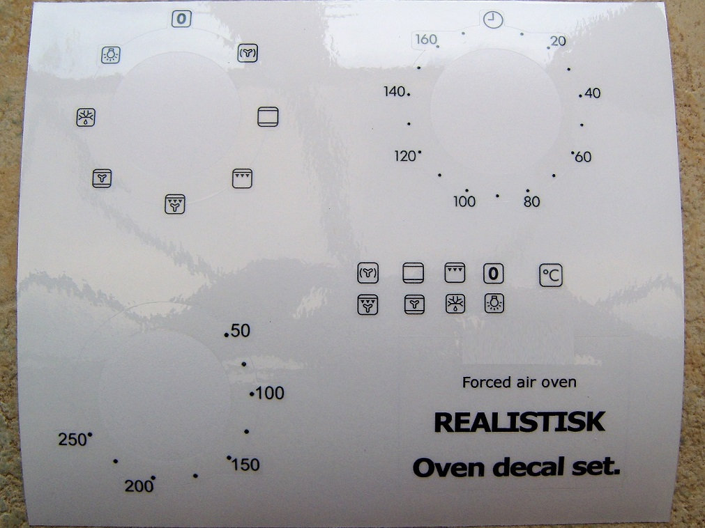 REALISTIK Forced air oven compatible panel fascia sticker set.