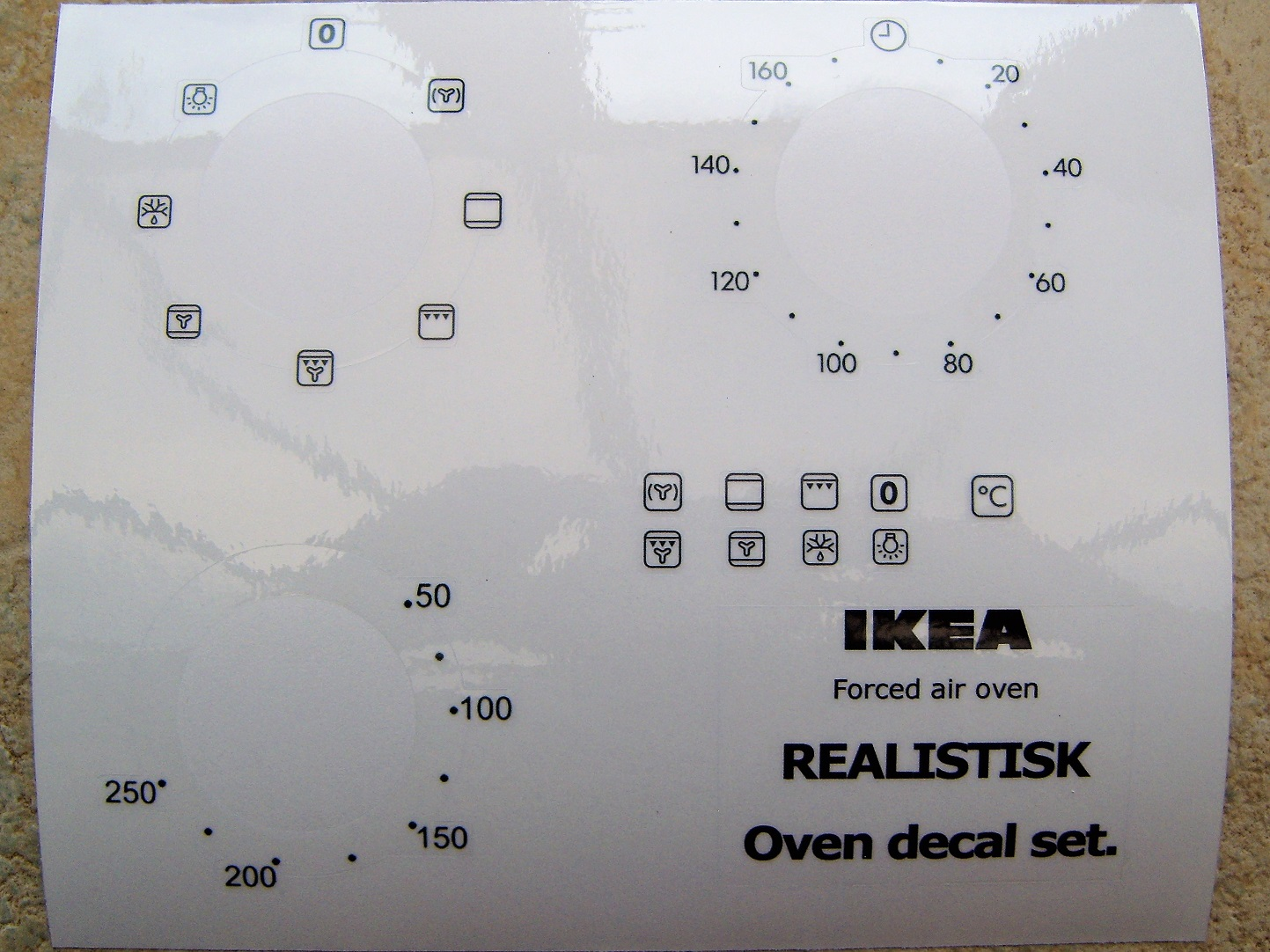 REALISTIK Forced air oven decal sticker set.