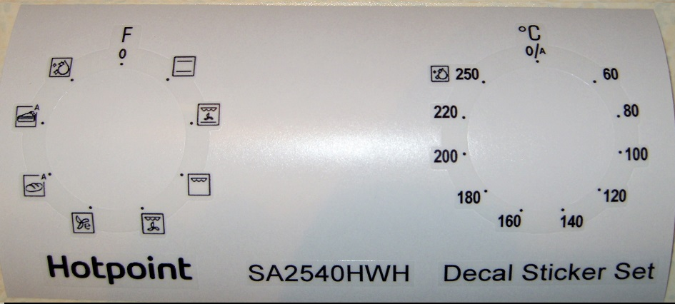 HOTPOINT SA2540HWH, SA4544HIX Oven decal sticker set.