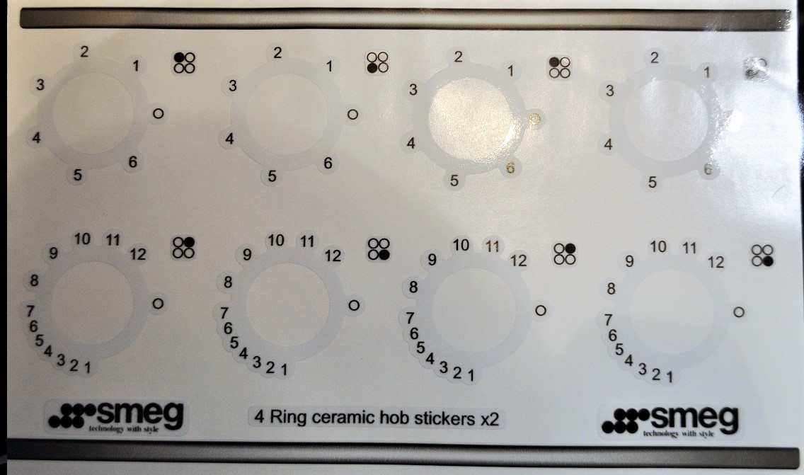 Smeg 4 ring ceramic hob stickers.