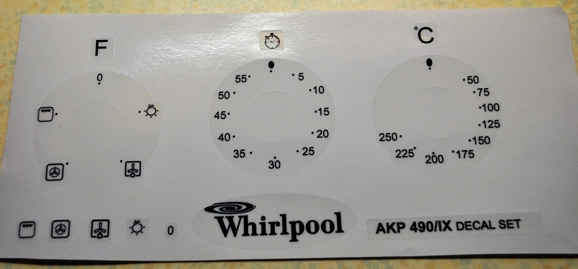 Whirpool AKP 490/IX decal set, may suit other models.