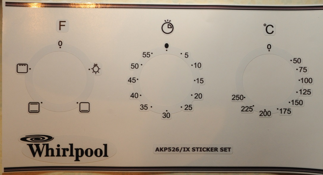 Whirlpool AKP526 fascia front panel sticker set.