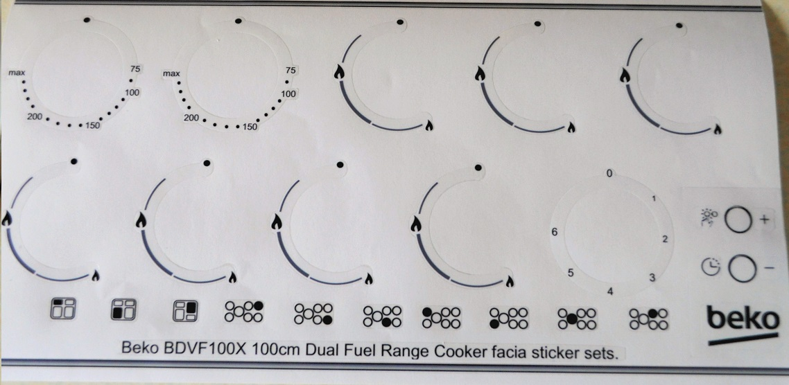 Beko BDVF100X Range Cooker facia sticker set.