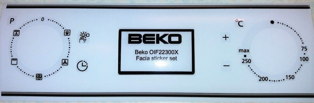 Beko OIF22300X front panel decal stickers for worn fronts.