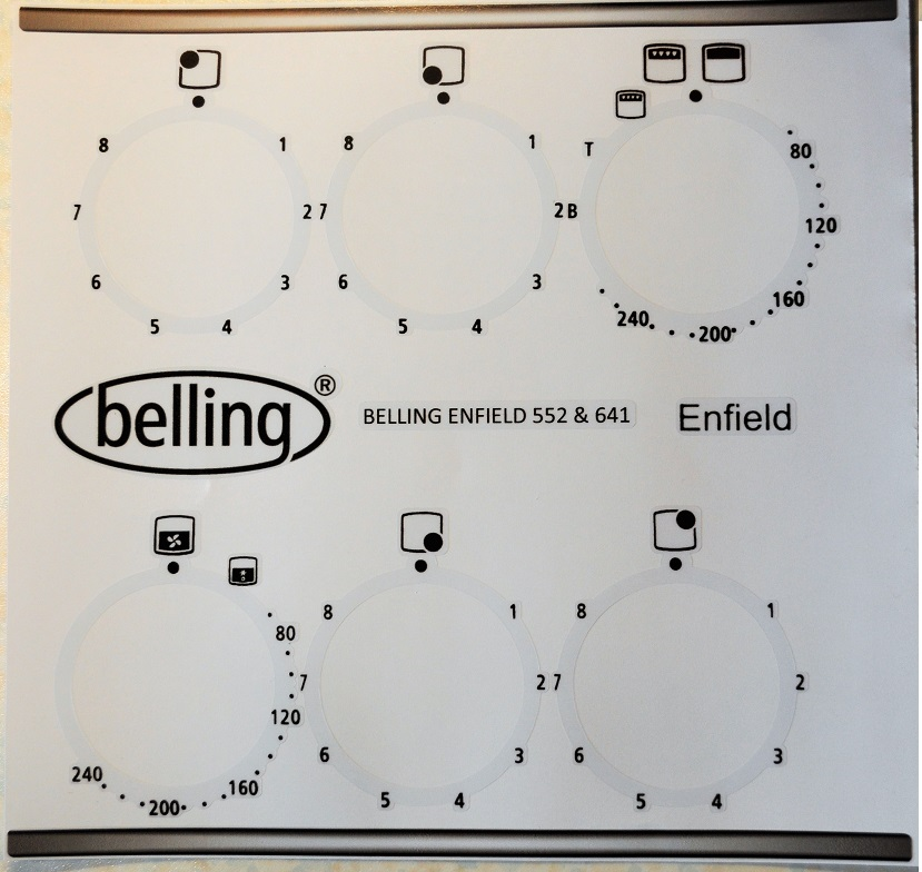 Belling Enfield 552, 622, 641 Fascia sticker set for worn front.