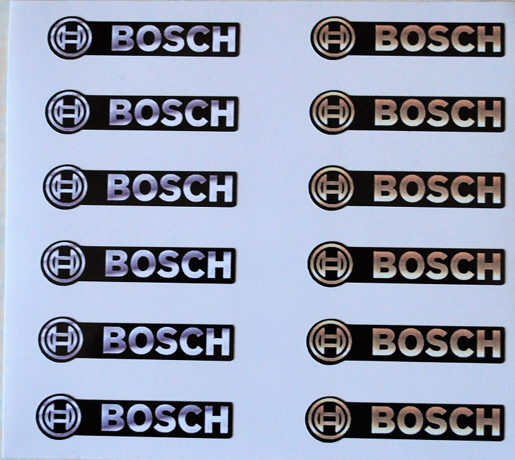 Gold and Chrome effect printed vinyl Bosch Emblems x 12