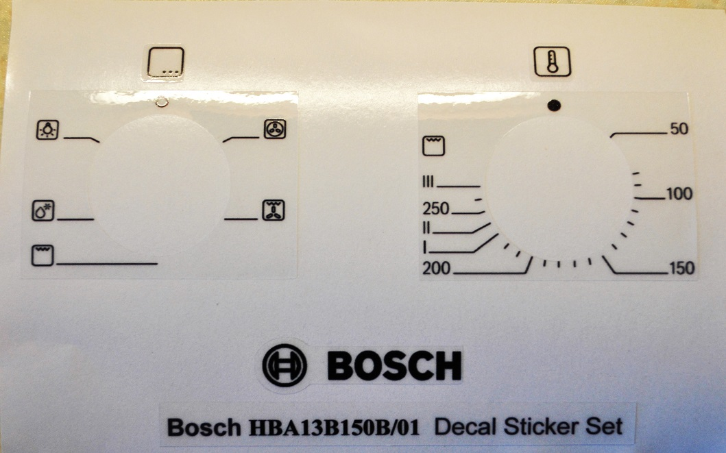 Bosch HBA13B150B decal sticker set for worn fronts.