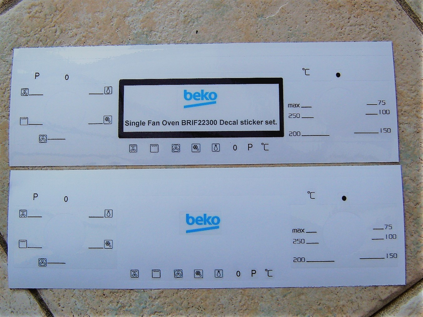 Beko BRIF22300 oven facia. decal stickers, may suit other models