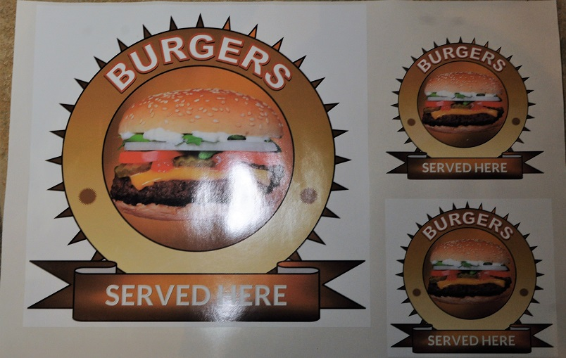 Set of burgers served here stickers for internal or external.