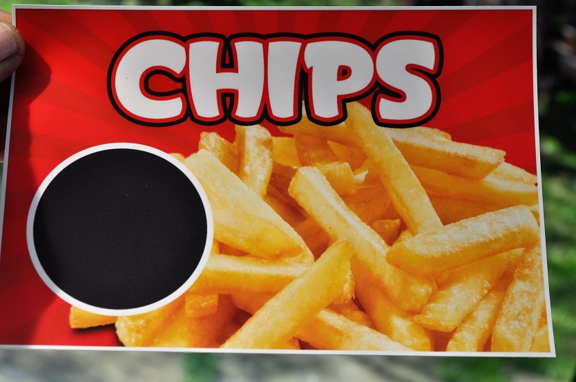 Chips water resistant stickers with price x4 for catering, etc