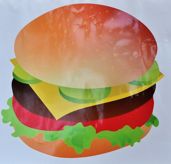 Burger large clipart 25x25cm suitable for internal or external.