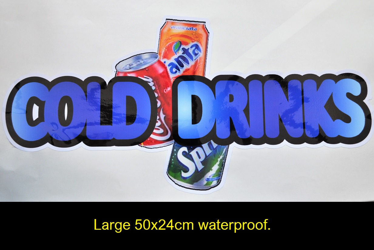 Large 50x24cm cold drinks sticker for burger van etc