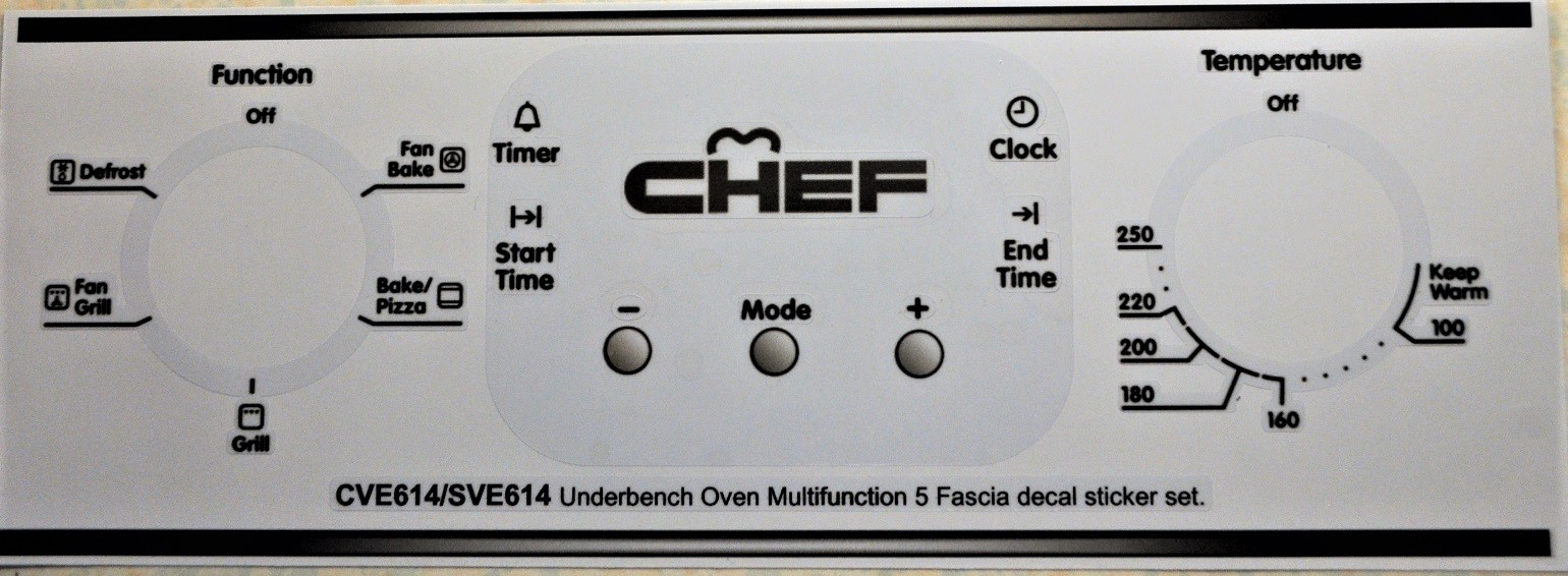 Chef CVE614 & SVE614 Oven fascia decal sticker set.