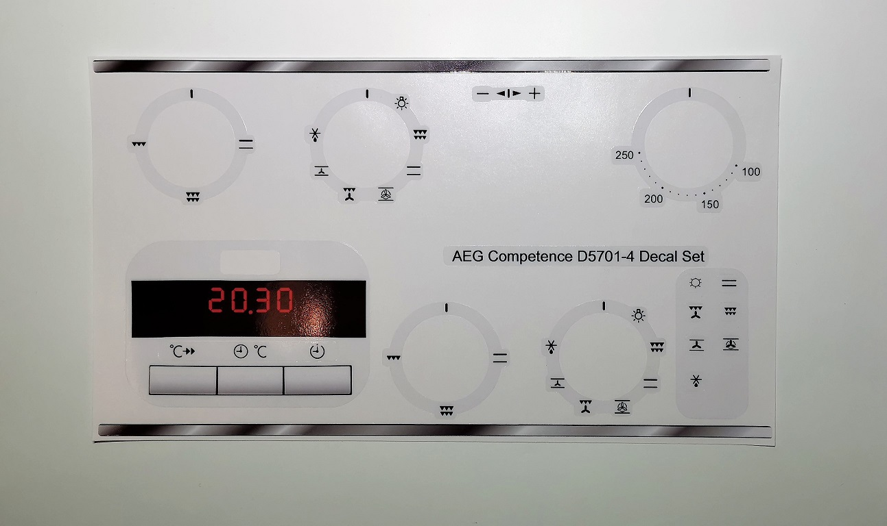 AEG COMPETENCE D5701-4 compatible sticker set, may fit others.