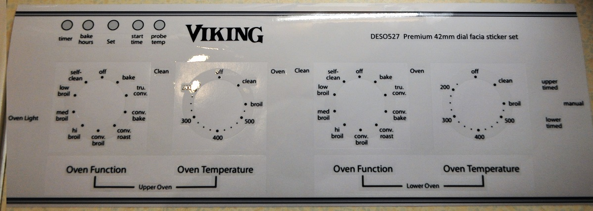 Viking premium 42mm dial single and double oven sticker set.