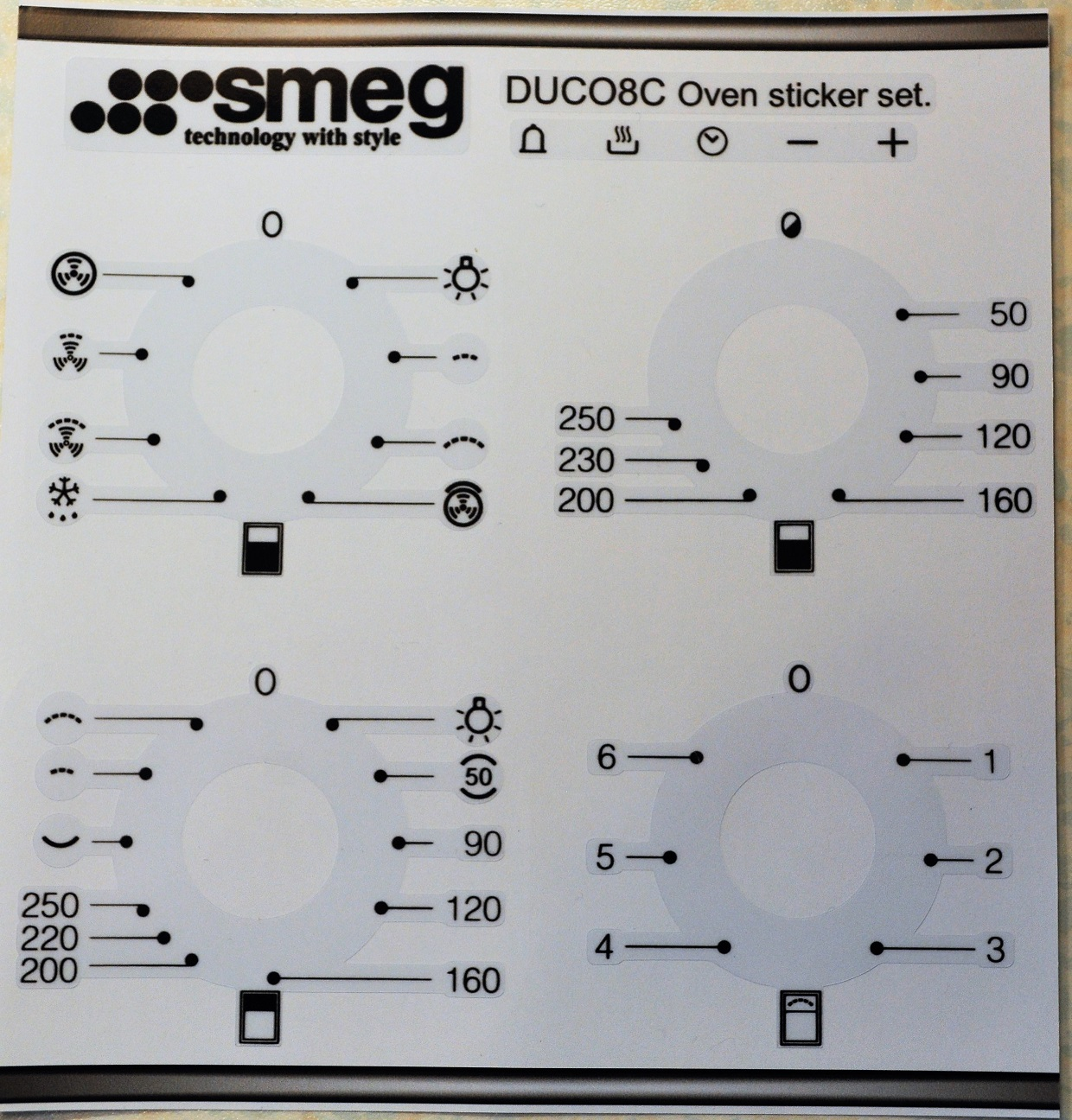 Smeg DUCO8C oven panel decal stickers, may suit other models.