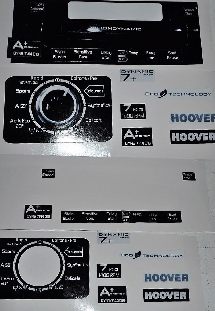 Hoover DYNS 7144 washing machine front panel decal sticker set.