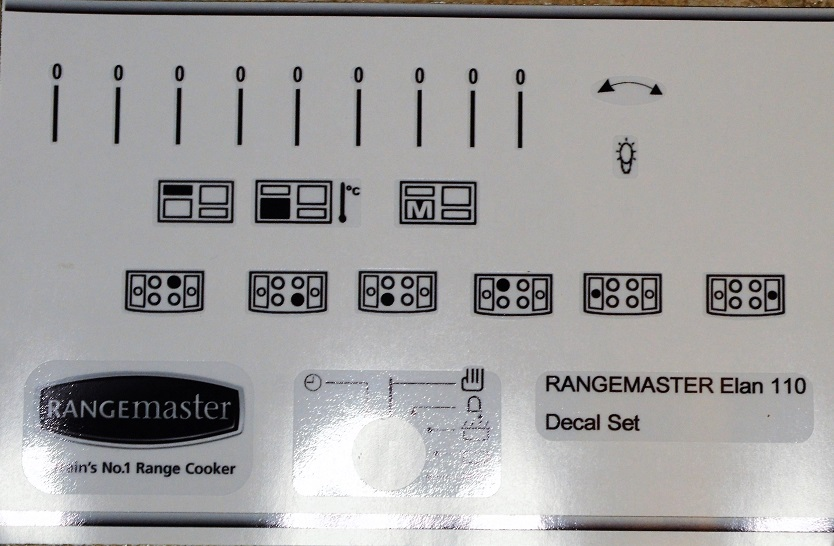 Rangemaster Elan front panel fascia Decal Set in black and clear