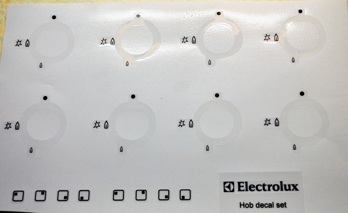 Electrolux gas hob decal set x 2, may suit others.