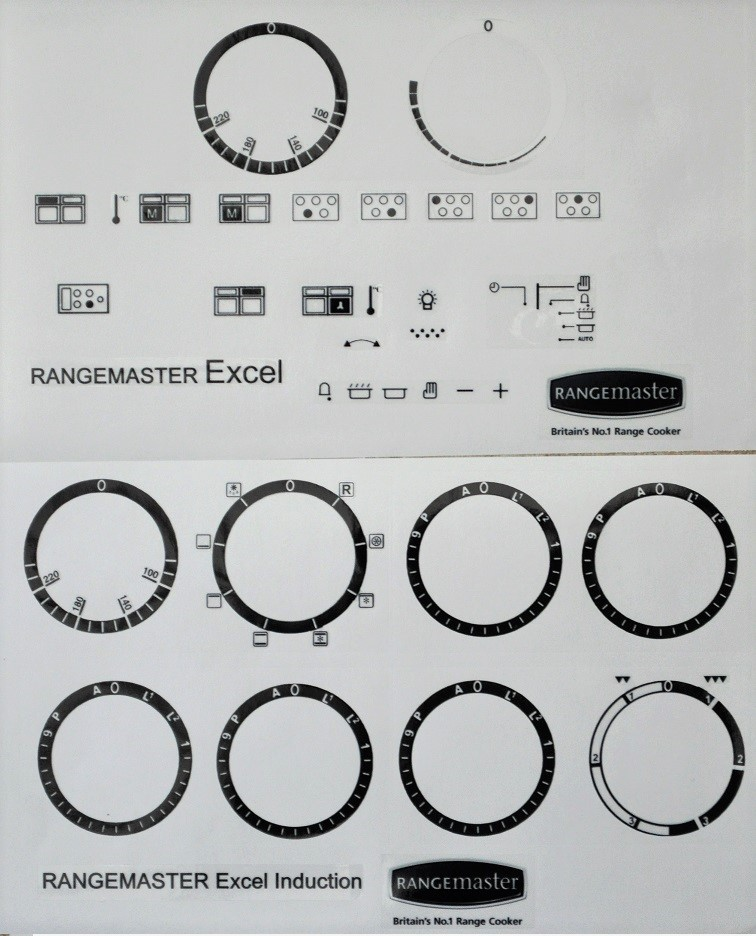 Rangemaster Excel 110 Induction decal stickers.