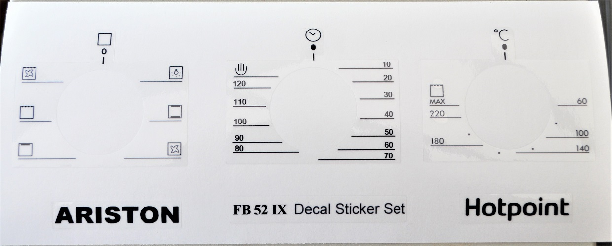 ARISTON FB 52 IX DECAL STICKER SET, MAY FIT OTHERS.