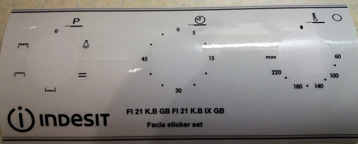 Indesit FI 21 K.B, FI 21 K.B IX etc facia sticker set.
