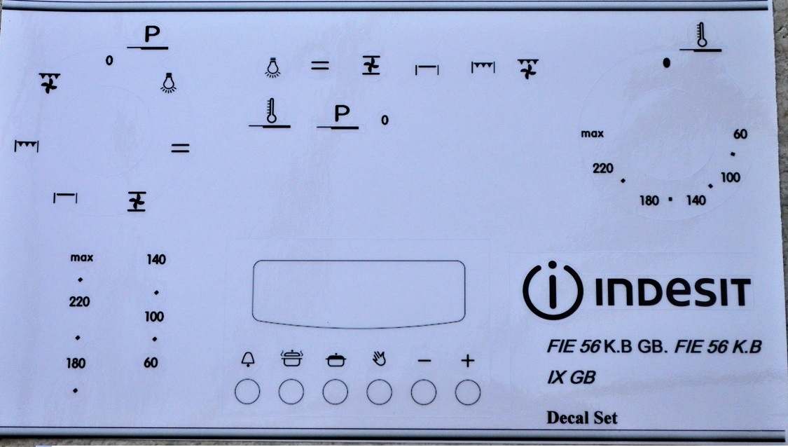 Indesit FIE 56 K.B GB decal facia stickers