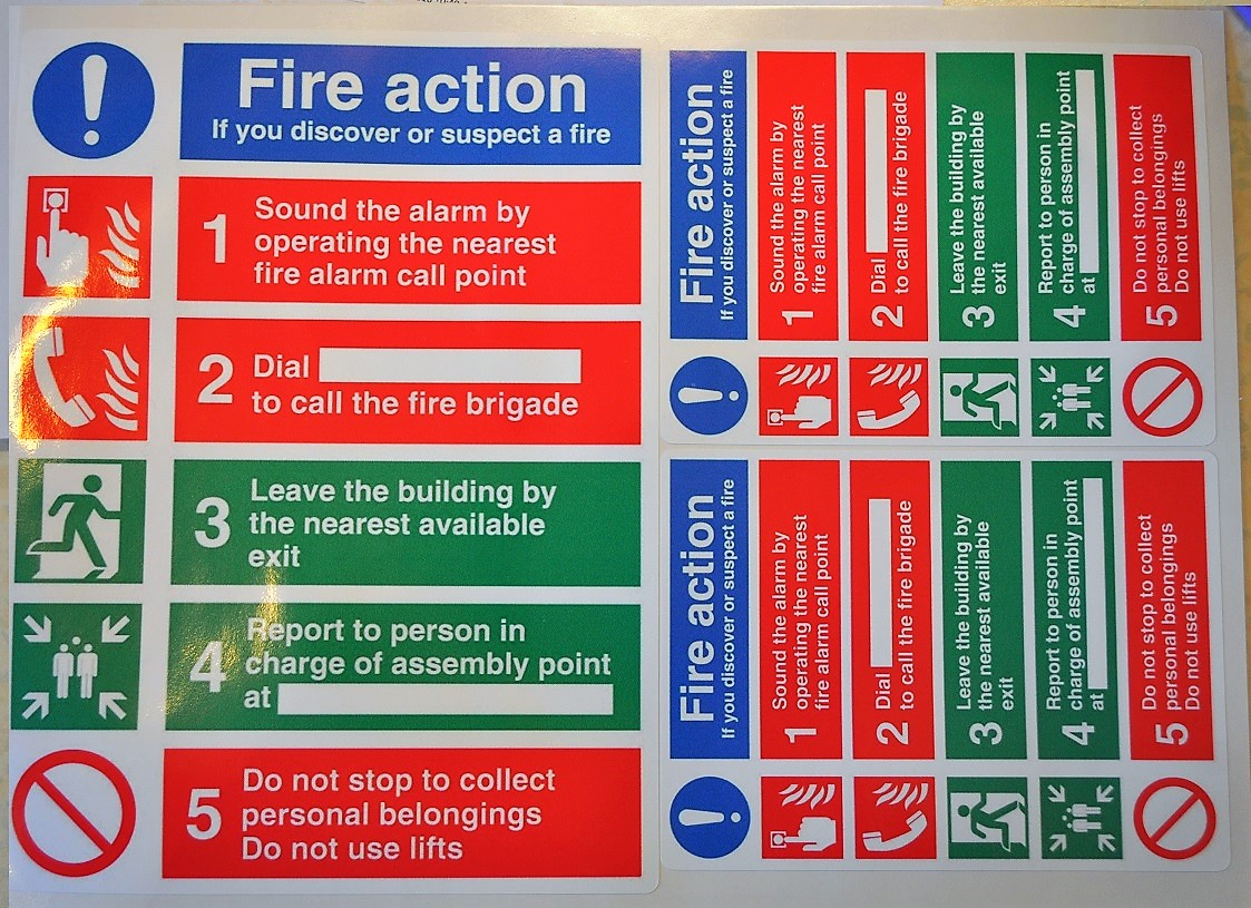 3 x Fire action stickers, 1 x 152 x 202mm & 2 x 98 x 130mm