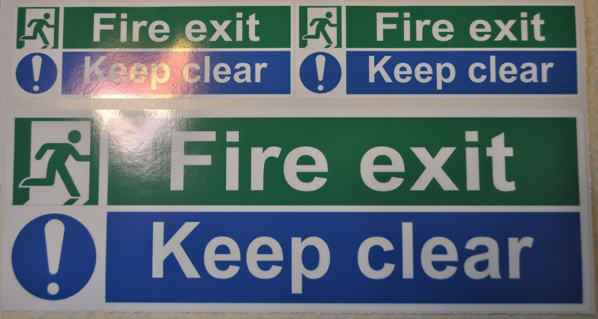 3 x Fire exit, Keep Clear stickers 1x298mm, 2 x 148mm