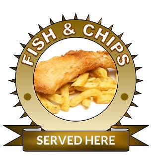 Large 25cm fish and chips served here sticker.