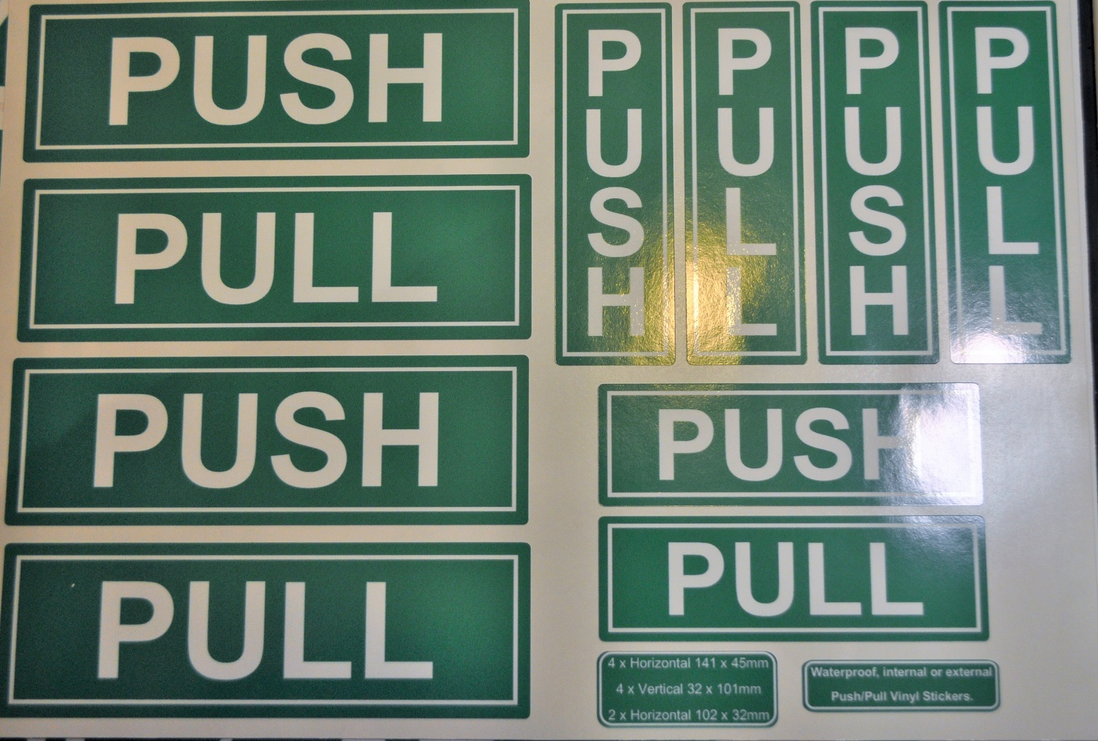 Whole sheet of push pull green vinyl stickers, indoor or outdoor